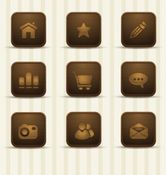 realistic wooden icons part 1 vector image vector image
