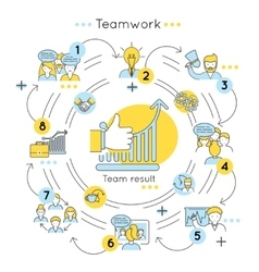 Teamwork Line Colored Concept vector image