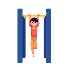 teenage caucasian boy climbing hanging on monkey vector image