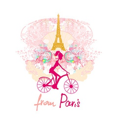 Young girl with bicycle in paris vector