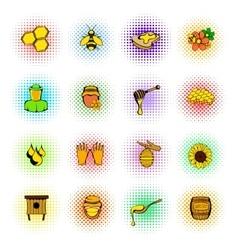 Beekeeping icons set comics style vector image vector image