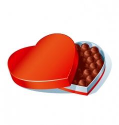 chocolate heart box vector image vector image