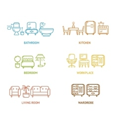 Colorful Icon Room Furniture Outline vector image vector image