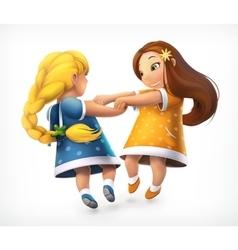 Dancing little girls vector image