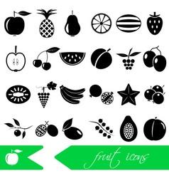 fruit theme black simple icons set eps10 vector image vector image