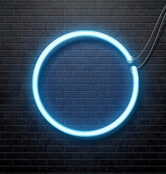 Neon blue circle isolated on black brick wall vector