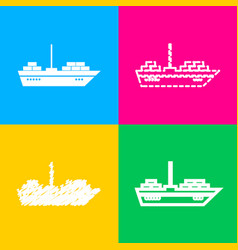 ship sign four styles of icon on vector image