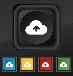 Upload from cloud icon symbol Set of five colorful vector image vector image