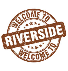 welcome to riverside brown round vintage stamp vector image vector image