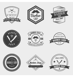 Barber shop logo set in vintage style vector image