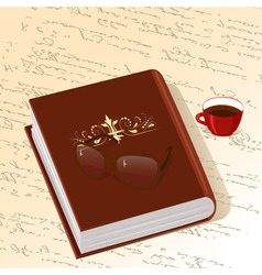 book with gold ornament with a cup of coffee vector image