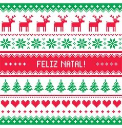 Feliz natal card - scandynavian christmas pattern vector image vector image