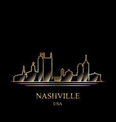 gold silhouette of nashville on black background vector image