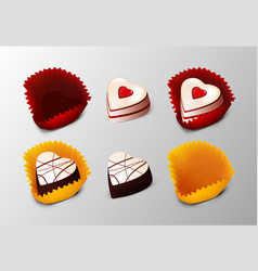 realistic tasty desserts collection vector image