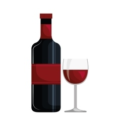 wine bottle and cup isolated icon design vector image