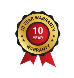 10 year warranty badge label extended warranty vector