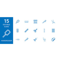 15 hairdresser icons vector