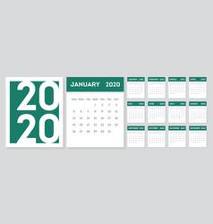 2020 gregorian calendar design template set 12 vector image