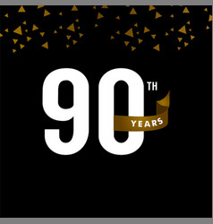90 years anniversary number with gold ribbon vector