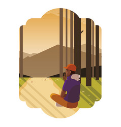 Afro man contemplating horizon in forest scene vector