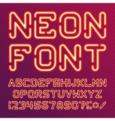 Alphabet neon red vector image