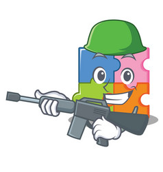 Army puzzle character cartoon style vector
