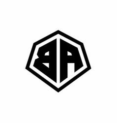 Ba monogram logo with hexagon shape and line vector