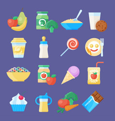 Baby food icon set vector