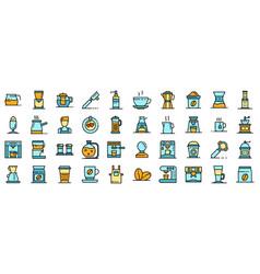barista icons set flat vector image