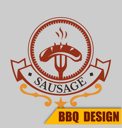 Bbq sausage logo image vector