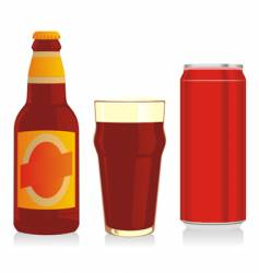 beer bottle glass and can vector image