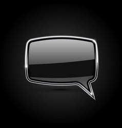 black square speech bubble with metal frame vector image