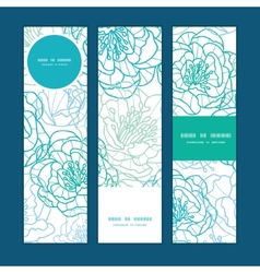 Blue line art flowers vertical banners set pattern vector