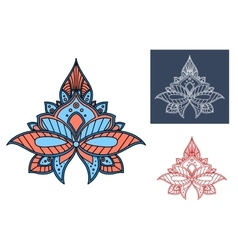 Blue paisley flower with turkish openwork design vector image