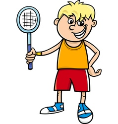 boy with tennis racket cartoon vector image