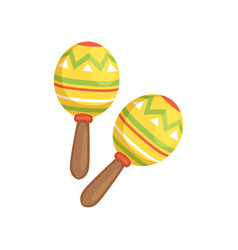Brightly colored maracas traditional symbol of vector
