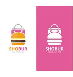burger and shop logo combination hamburger vector image