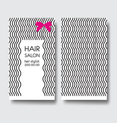 business card template with long curly hair and vector image