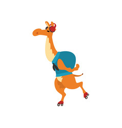 Camel travelling with backpack funny animal vector