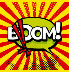 cartoon boom explosion comic speech bubble comic vector image