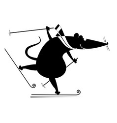 cartoon rat or mouse a skier vector image