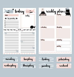 Clip art collection of daily planner weekly vector