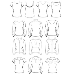 Collection of women clothes outline templates vector image