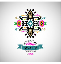 colorful abstract geometric simbol in tribal style vector image