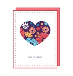 colorful bouquet flowers heart symbol frame vector image