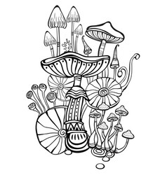Coloring book page for adult with mushrooms vector