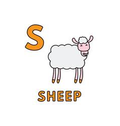 Cute cartoon animals alphabet sheep vector
