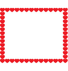 cute red cartoon hearts love border with space vector image