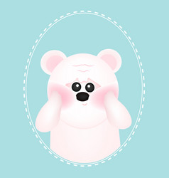 cute white bear with red cheeks on blue vector image