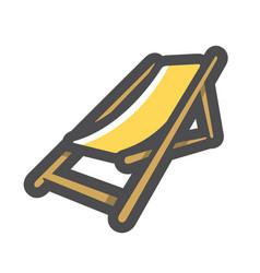 deck yellow chair icon cartoon vector image